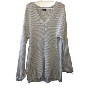Gray Knit Women's Sweater V-Neck Oversized M/L